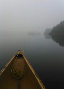 Canoeing into the fog